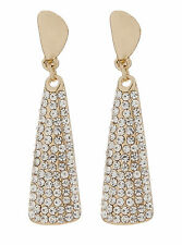 CLIP ON EARRINGS - gold plated drop earring with cubic zirconia stones - Amber G