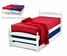 3FT SINGLE WHITE PALERMO BED + GUEST BED & 2 X MEMORY FOAM SPRUNG MATTRESSES