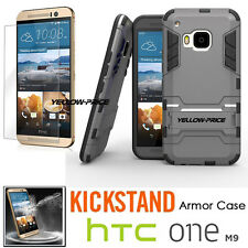 HTC ONE M9 Case [+Tempered Glass Screen Film] Shockproof Heavy Duty Armor Cover