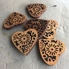 20 x Laser Cut Wood Wooden Heart Charms