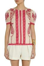ALICE by Temperley women's geranium Botanical embroidered cotton Top  Size 12  #