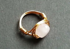 Plated Gold/Silver Rose Quartz Crystal Wire Wrap Ring Custom Made In Your Size