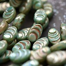 8 New Life - Czech Glass, Turquoise Green, Silver Picasso, Cocoon Beads 13x8mm