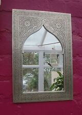 Hand Crafted* MOROCCAN ENGRAVED SILVER COLOUR POINTED ARCHED  MIRROR 37cm x 24cm