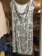 Benetton Ladies Grey Floral Puffed Cap Sleeved Cowl Neck Dress Size XS