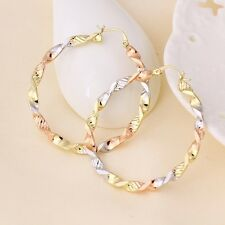 "9ct 9K Yellow Rose & White ""GOLD FILLED"" Ladies Large Hoop EARRINGS. 50mm Gift"