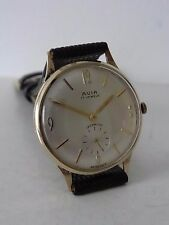 9CT GOLD AVIA 17 JEWELS INCABLOC WRISTWATCH LONDON 1964 WORKING ORDER NEW STRAP