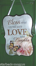 HANGING SIGN PLAQUE LOVE LAUGHTER... FLOWERS AND BUTTERFLIES VINTAGE HOME DECOR