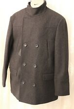 Asos Wool Funnel Neck Military Double Breast Pocket Peacoat Jacket Coat  XL 44