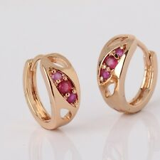 Bridal jewelry ! ruby unique Huggie wedding modish 18k gold filled earring