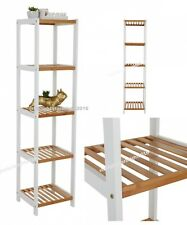 Bamboo Display Unit 5 Tier Storage Shelves Shelving Rack White Natural Wooden