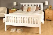 Wooden Double Bed 4ft6 White Frame with mattress