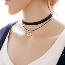 Women's Charm Trangel Pendant Sexy Black Leather Gothic Choker Necklace Jewelry