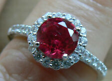 Diamonique Ruby Pink look 1.7ct tw Christmas Ring Sterling Silver size Q