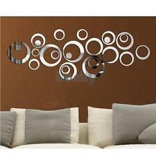 24pcs circle acrylic plastic mirror wall home decal decor vinyl art stickers