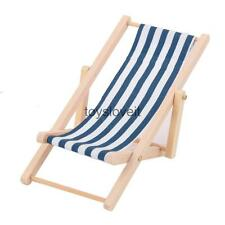 1:12 Dolls House Lounge Blue White Striped Chair Garden Living Furniture