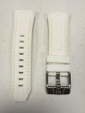 Authentic TechnoMarine White Silicone Strap/Gold Stitching & Silver Buckle 45mm