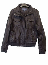 LADIES FAUX LEATHER JACKET in BROWN COLOUR SIZE 12 from E-VIE (D-47)