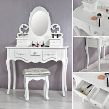 Schminktisch mit Spiegel und Hocker Frisierkommode Schminkkommode weiß barock E