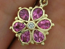 E036 - Genuine 9ct Gold NATURAL Pink Tourmaline Diamond DAISY Flower EARRINGS