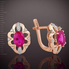 Russische Rose Rotgold 585 Ohrringe mit Diamanten, Rubin  4.56g . Neu  Glänzend.