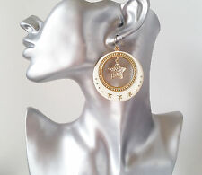 Gorgeous gold tone - cream & diamante star patterned disc drop earrings * NEW *