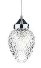 Traditional Ceiling Light Pendant With Acorn Cut Glass Shade In Polished Chrome