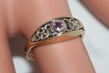 Superb Welsh Clogau 9ct Gold &  Pink Sapphire Moongold Celtic Ring  L1/2 US 61/4