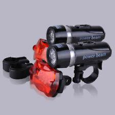 2x 5 LED Fahrradleuchte Fahrradbeleuchtung Set Fahrradlampe Fahrradlicht Schwarz