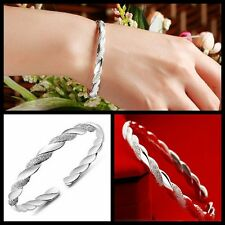 hot Exquisite 925 Sterling Silver Stripe Cuff Wrist Bracelet Bangle Lover Gift