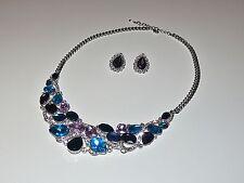 ♥ Set  Collier  Statement + Ohrringe  Strass  Schmuck  blau lila türkis NEU ♥