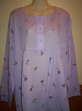 """BRAND NEW LUCKY COTTON MIX VIOLET LONG SLEEVE LONG NIGHTDRESS SIZE 30 BUST 60"""""""