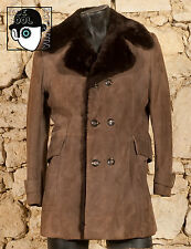 VINTAGE 70s FAUX FUR LINED SUEDE LEATHER COAT - UK/US 36/38 - SMALL - (Q)