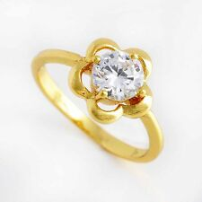Classy Yellow Gold Filled CZ plum blossom Flower crystal Ring size 6