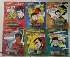 Set of 6 Hot Wheels STAR TREK Real Riders Diecast Vehicles - Spock Kirk Sulu