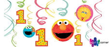 SESAME STREET 1ST BIRTHDAY PARTY SUPPLIES SWIRL HANGING 12 PC PARTY DECORATIONS