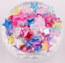 50pcs Star Shape  AB Color Acrylic Spacer Beads 11mm Mixed Randomly