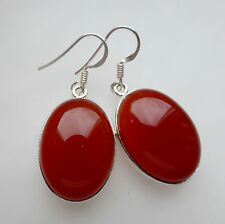 925 Sterling Silver Carnelian Drop Earrings