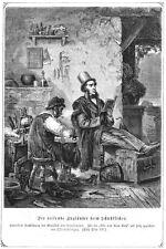 Schuhmacher, Schuster, in Italien und Engländer, Original-Holzstich von 1869