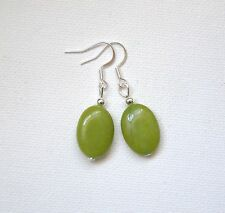 Silver plated Natural green Peridot oval drop hook Gemstone Earrings