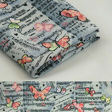 100% COTTON Fabric Grey Pink Material Butterfly Sewing Quilting By Half Metre