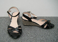 Fiore Black Patent Low Wedge Sandals Size 5/38