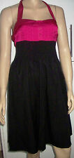 NEW LOOK TALL Pink Black Belted Halter Neck Summer Party Dress Size 10  C37