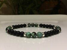 MEN'S Bead Bracelet Solid Sterling Silver African Turquoise & Black Onyx