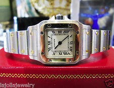 Ladies CARTIER Santos Steel 18k Yellow Gold Quartz Roman Numeral Watch