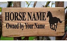 Personalised Pony Horse Stable Door Livery Name Sign Plaque Plate Box Rustic New