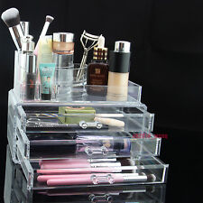 3 Storage Clear Acrylic Transparent Make up Box Organiser Cosmetic Display Case