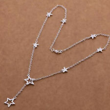 "Gorgeous 925 Silver Star Lariat Necklace Chain - Length 18"" - New - UK - 14"
