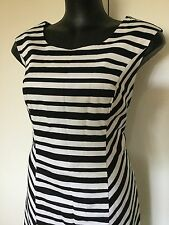 Size 14 Smart Flattering Black White Stripe Cotton Summer Dress