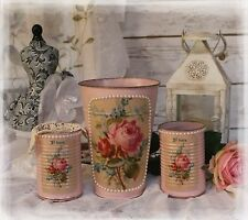 A set of 3 Vintage Shabby Chic Painted Decor Decoupage Flower Pot & 2 Tin Cans